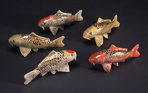 Japanese Koi Fish Sculpture In Clay